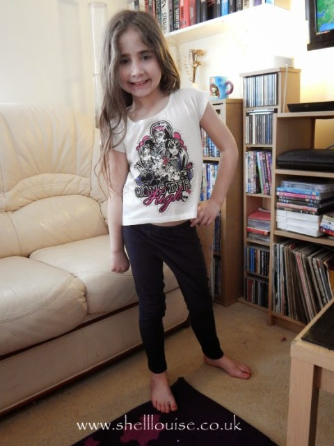 Ella wearing her new Monster High t-shirt from Lamaloli