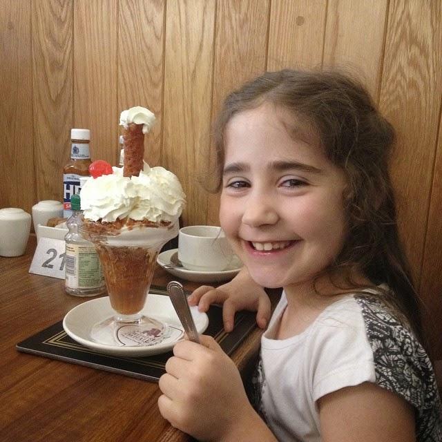 Ella with her brandy snap dessert