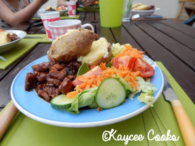 Slimming World sticky chicken, salad and jacket potato