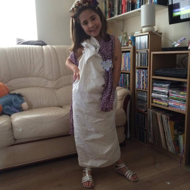 Ella dressed as Venus for Roman day at school
