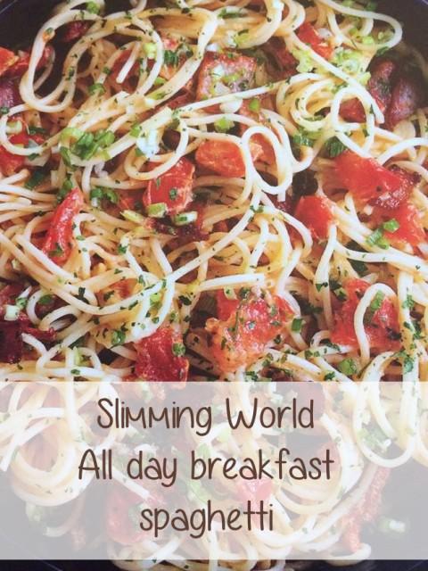 Slimming World all day breakfast spaghetti header