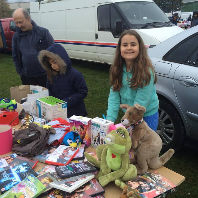 Kaycee and Ella at the car boot