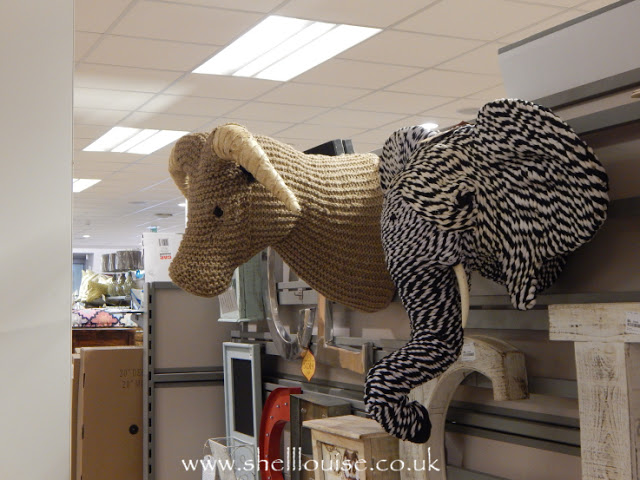 Home Sense - Knitted, wall mounted animal heads. Elephant and bull