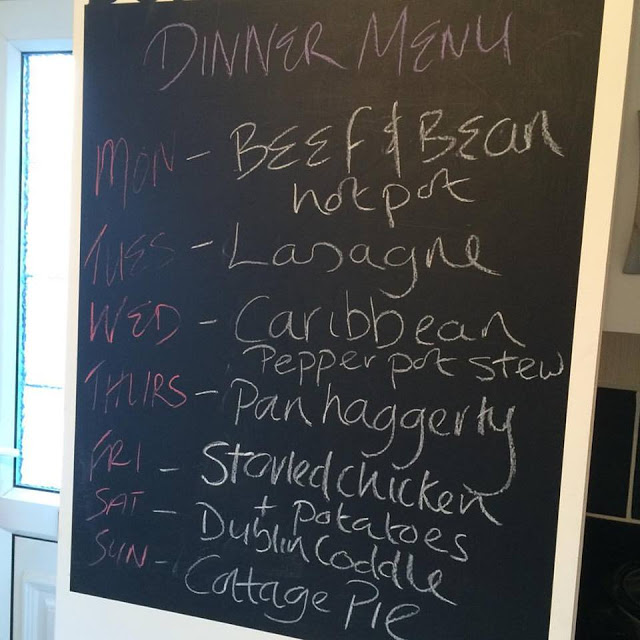 January 18th - Meal planning Monday menu