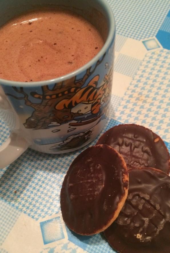 Hot chocolate and jaffa cakes
