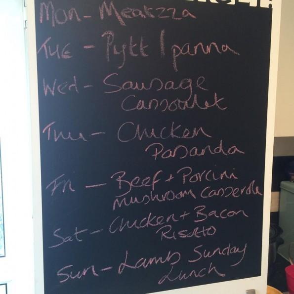 Menu chalk board March 21st