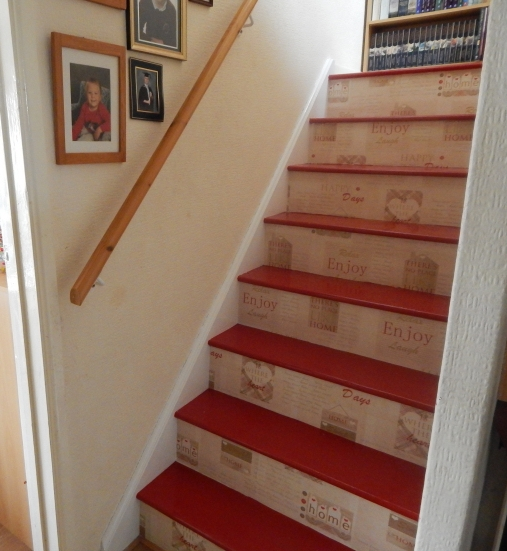 Updated stairs project - painted and wallpapered stairs