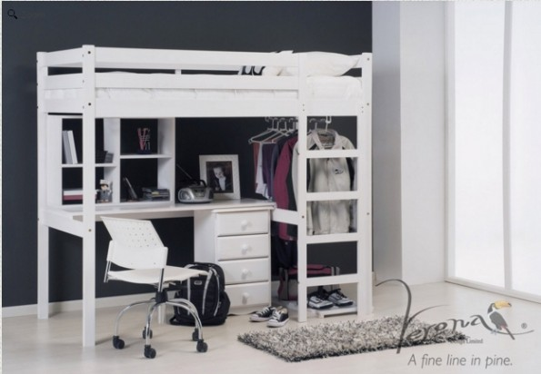 High bed with drawers and desk