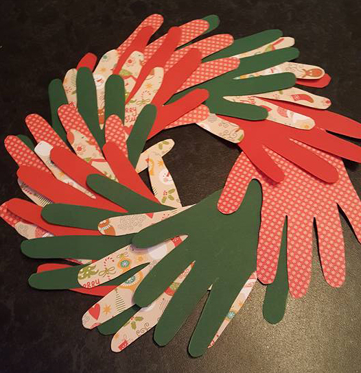 Christmas paper hand wreath