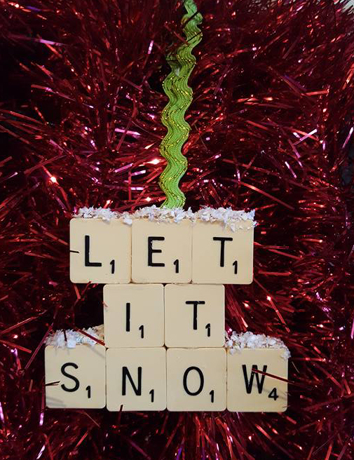 Let it snow Scrabble tree ornament