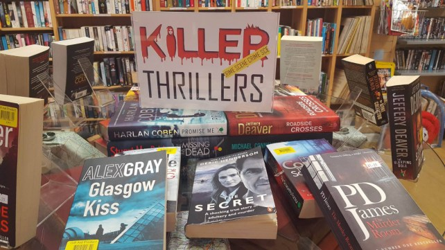 killer thrillers book display