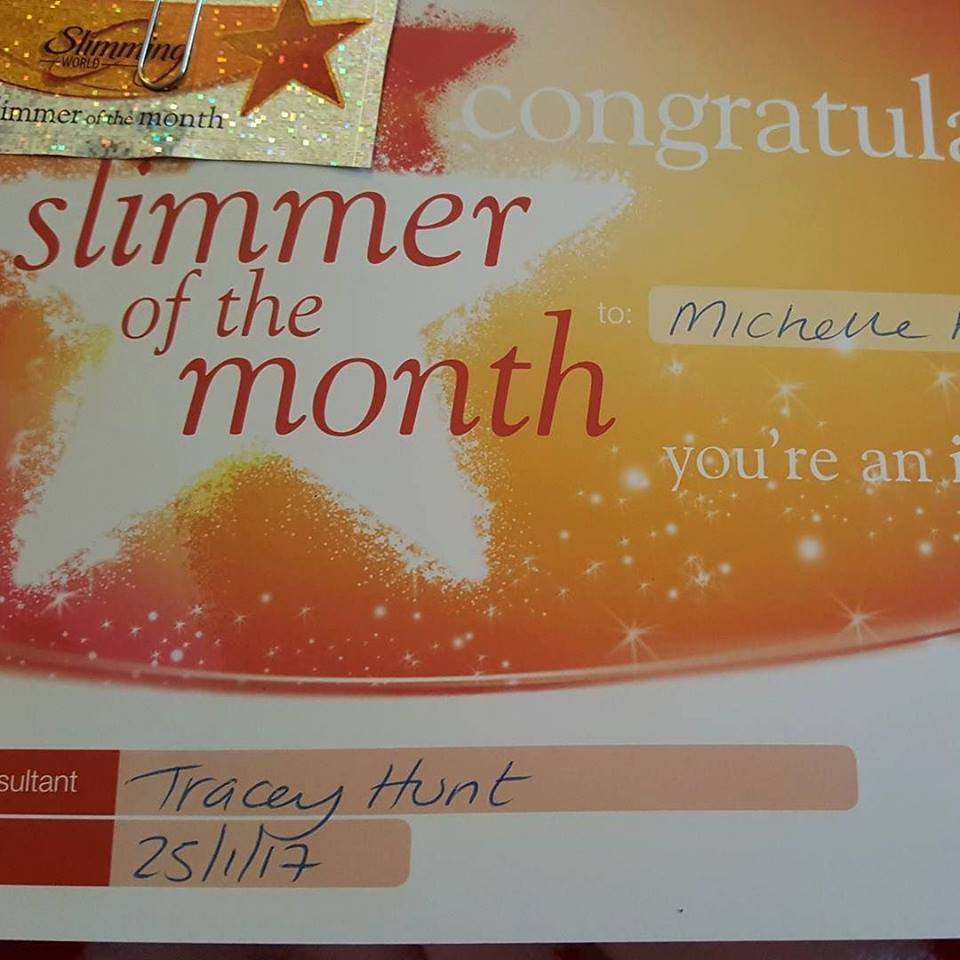Slimmer of the Month Slimming World certificate