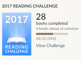 Goodreads challenge 28 books read. The woman in the woods