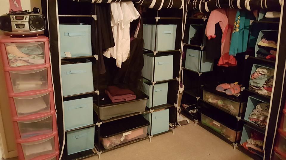 re-organised bedroom - canvas wardrobes