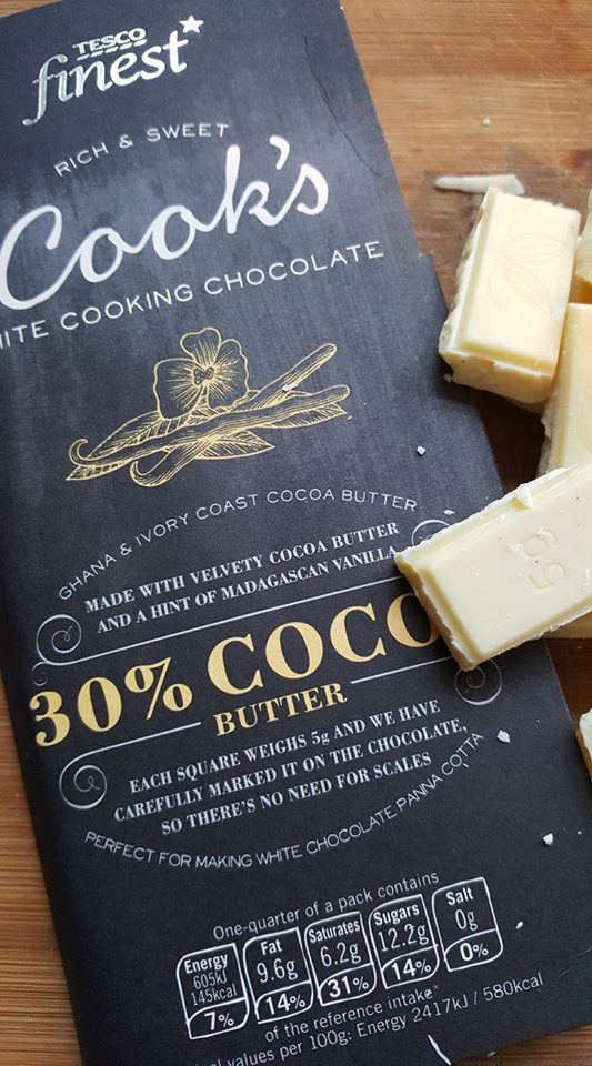White cooking chocolate from Tesco for the Bloody hot chocolate