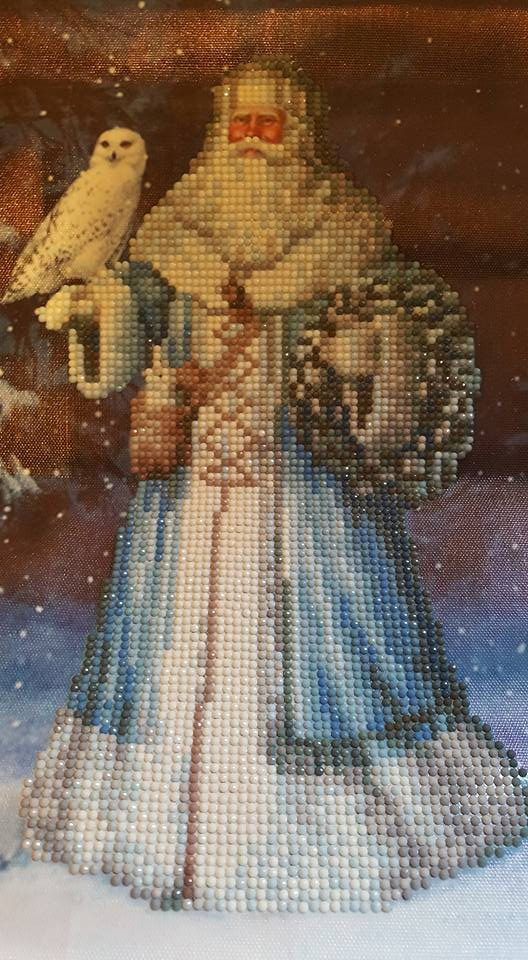 Diamond painting kit - Santa holding an owl