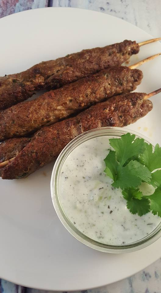 lamb kofta with mint yogurt dip