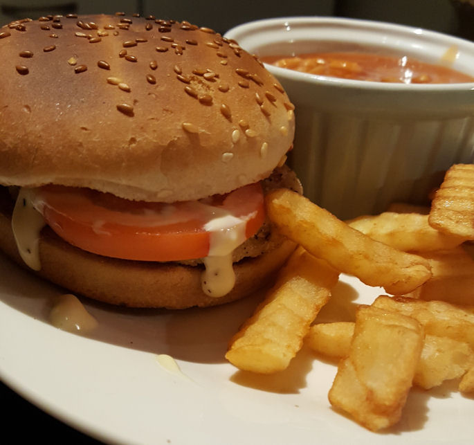 Rustlers southern fried chicken burger