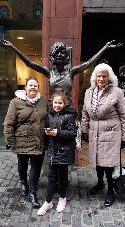 Ella's Easter Weekend - Ella, Kellyann and Margaret in front of a Cilla Black statue