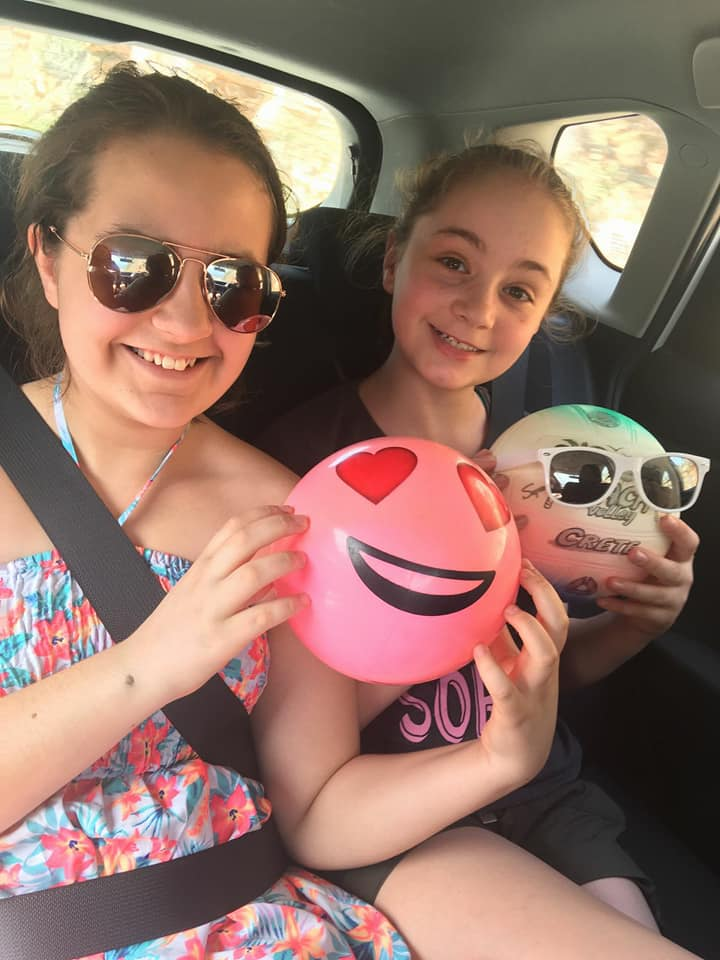 KayCee and Emma in the car - Greece holiday