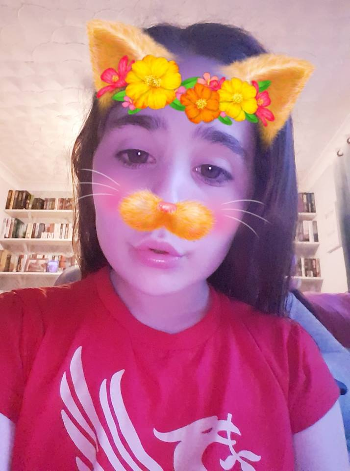 Ella playing with snapchat filters