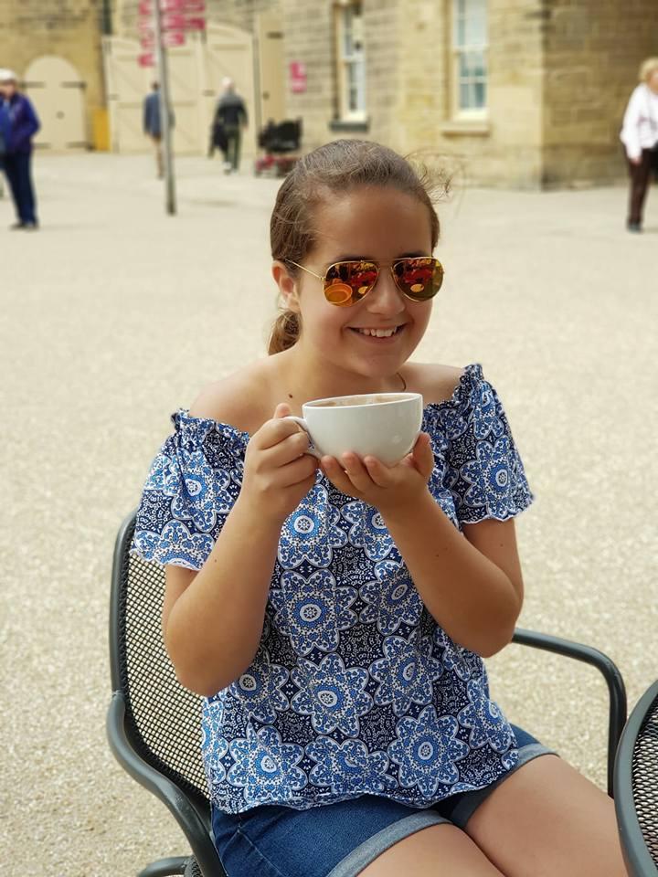 beautiful KayCee drinking hot chocolate