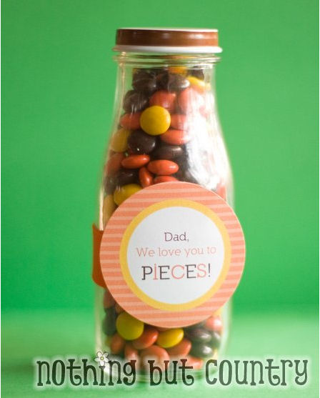 homemade Father's Day gifts - Reece's pieces in a bottle - We love you to pieces