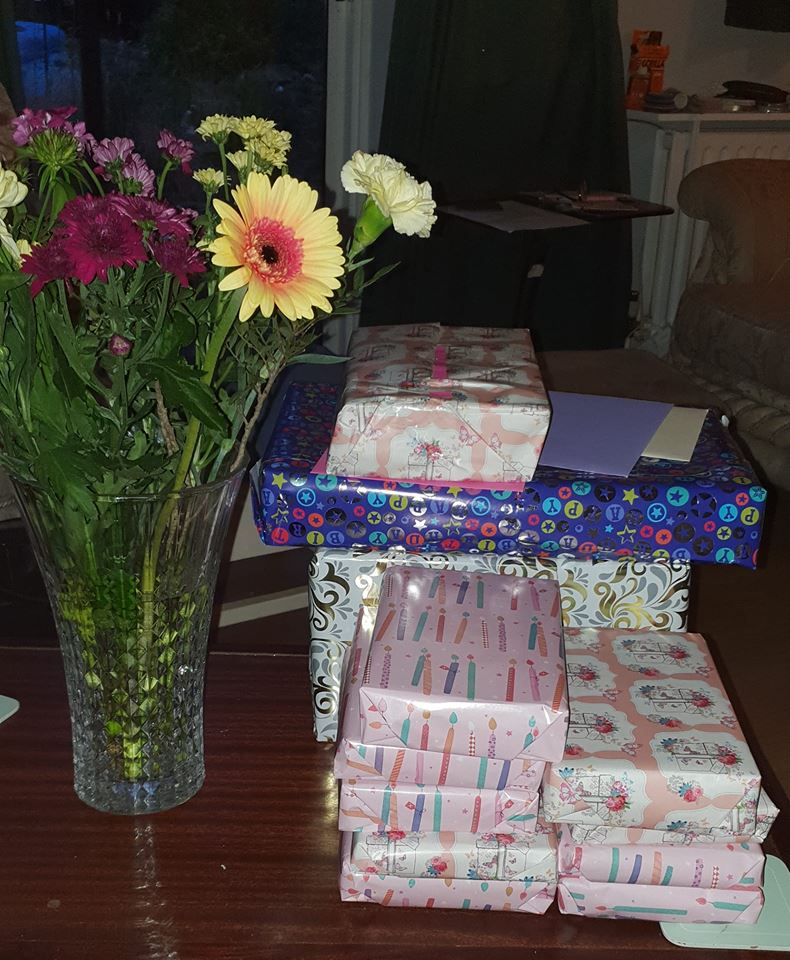 birthday presents and flowers - 42 today