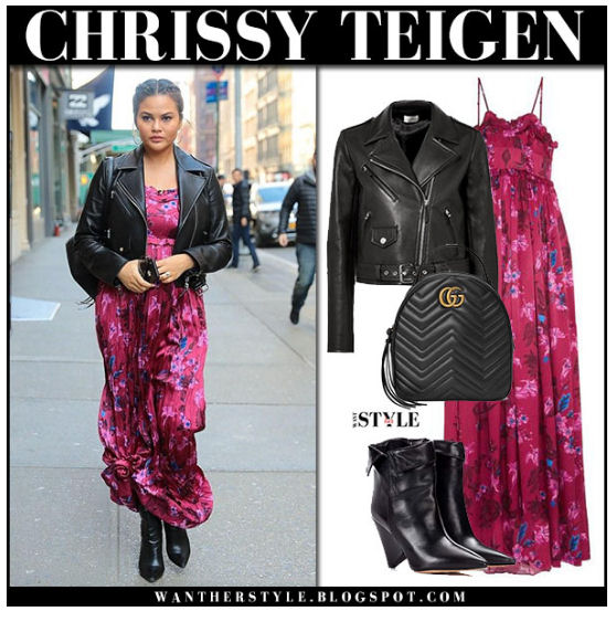 Chrissy Teigan wearing leather and floral from Want Her Style blog