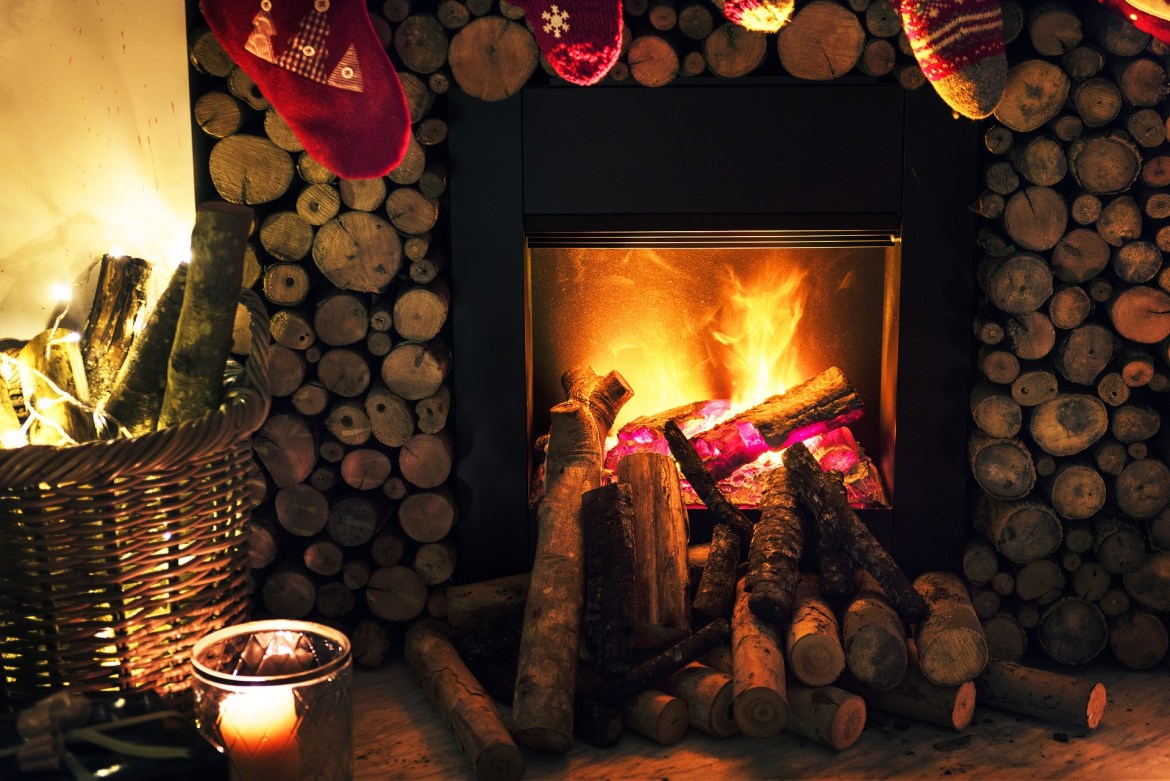 log fire cosy night in