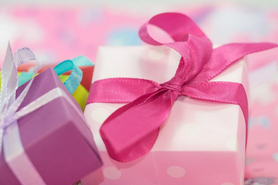gift boxes tied with ribbon