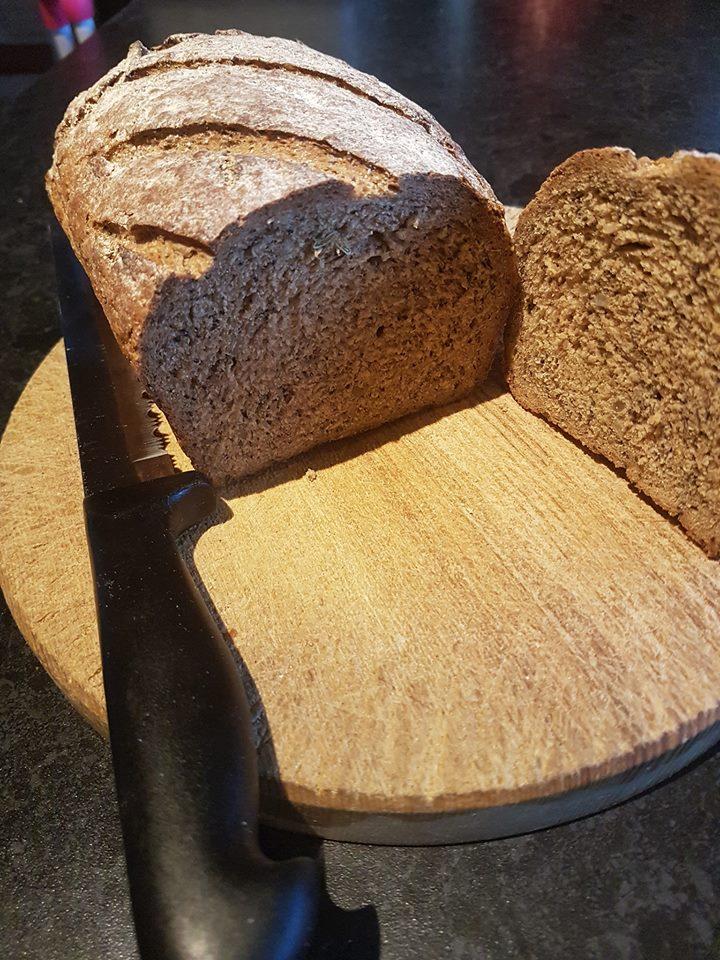 Danish Rye Bread loaf cut on half