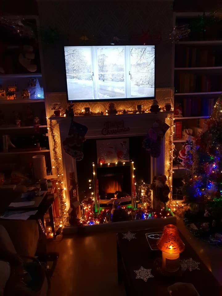 Fireplace lit up at night
