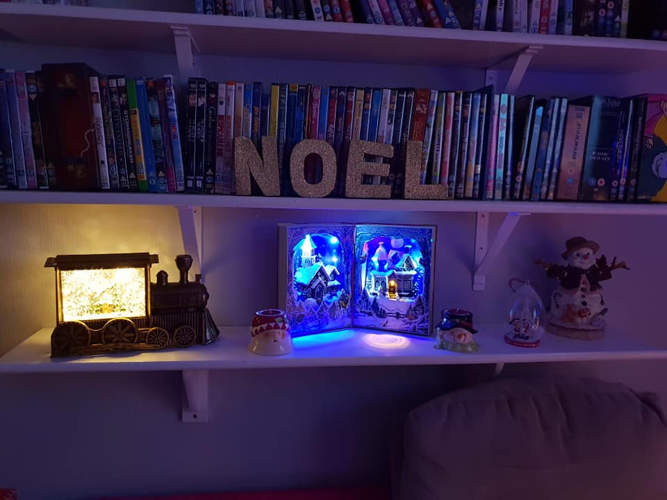 Glitter train and light up book ornaments