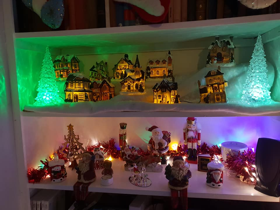 Christmas village and Christmas ornaments