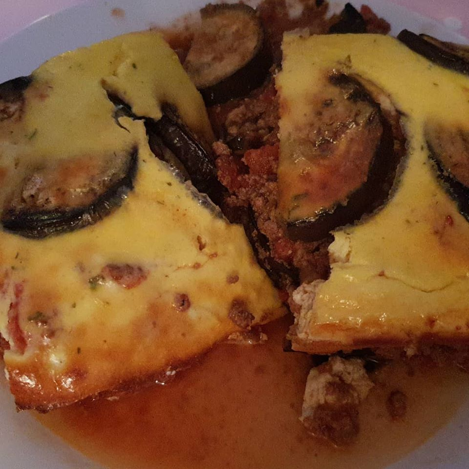 February 2019 1 day 12 pics - beef and aubergine bake Slimming World dinner