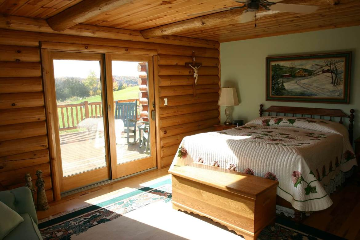 bedroom in a log cabin