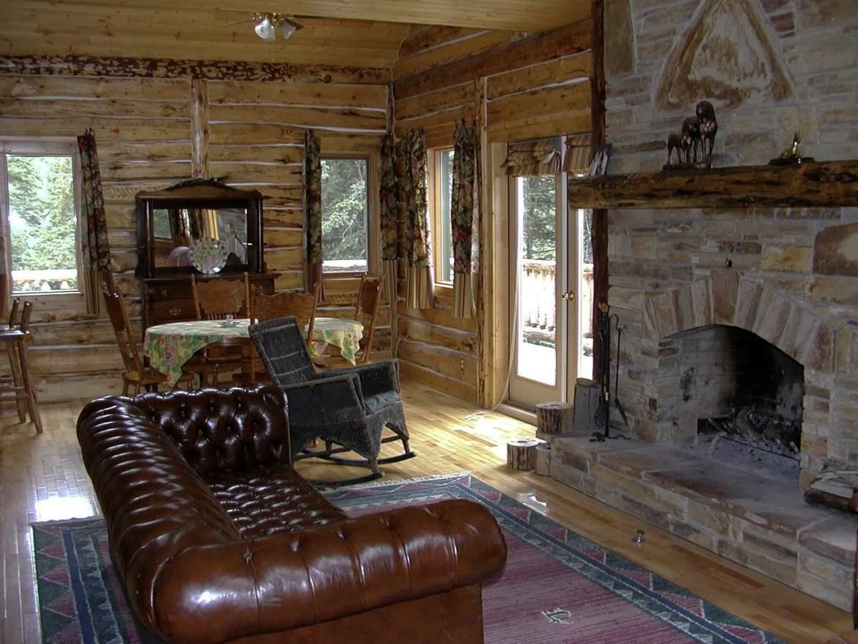 log cabin stone fireplace