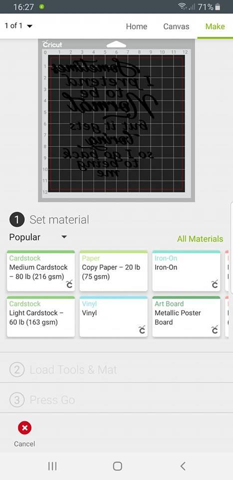 Design Space ap - choose material