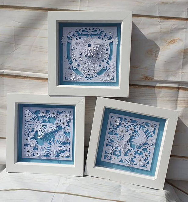 Set of 3 paper sculpture box frames using Dreaming Tree SVG files and the Cricut maker