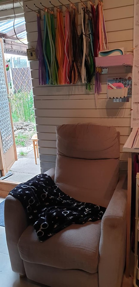 New studio - comfy chair and quilling storage