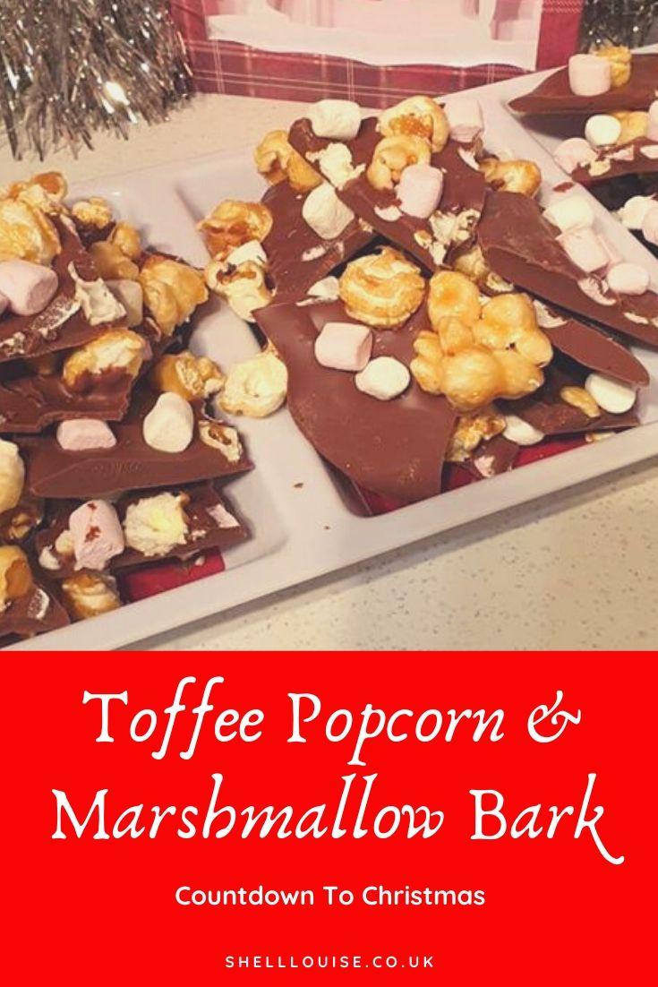 toffee popcorn and marshmallow bark