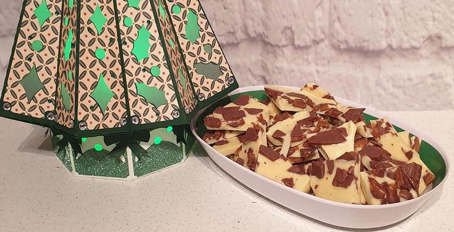 White chocolate and Daim bark