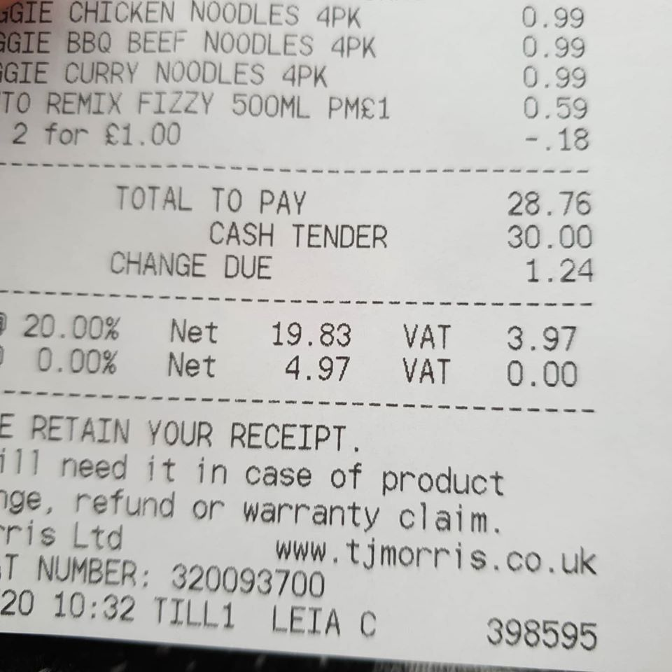 Home Bargains receipt