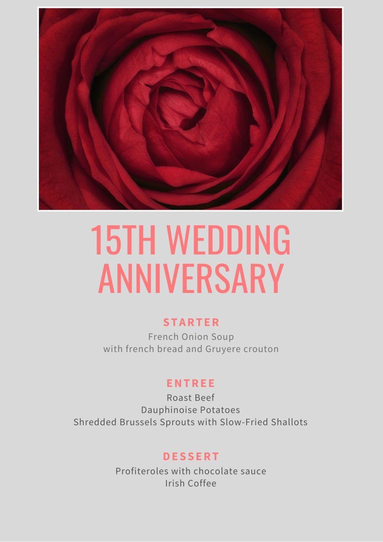 15th wedding anniversary menu