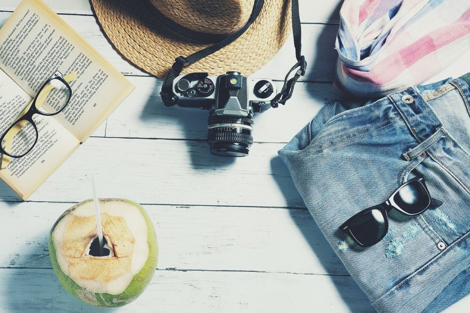 sun hat, book, camera, coconut with a straw - travelling