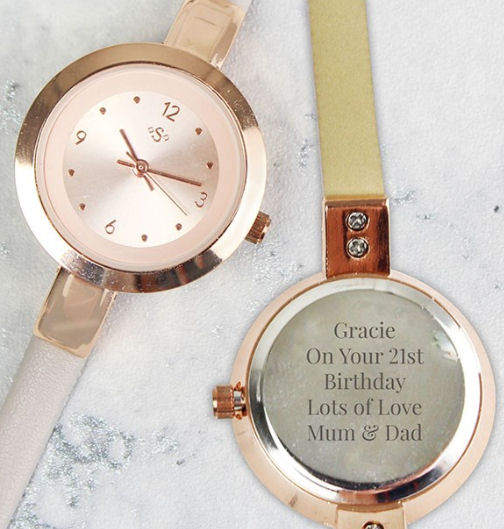 Rose gold personalised watch from Getting Personal