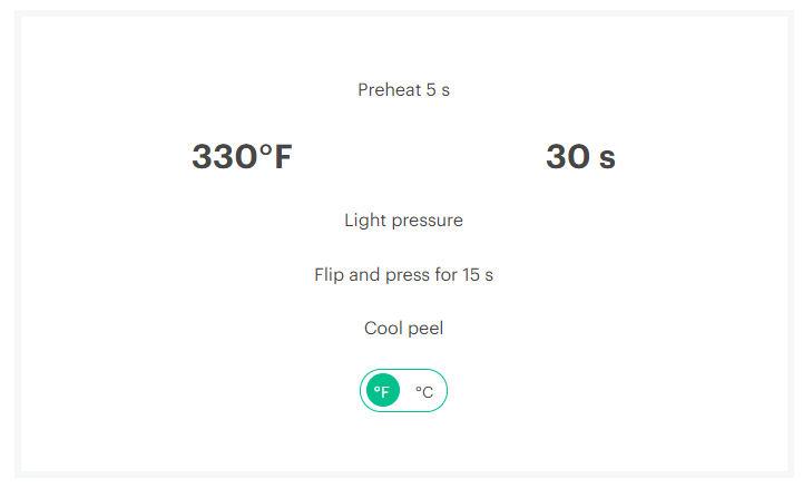 Heat press 2 settings 1