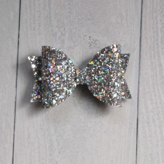 holographic silver hair bow