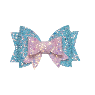 Pink and blue glitter hair bow